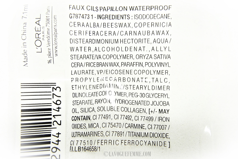 L'Oreal Paris Faux Cills Papillon Ingredients