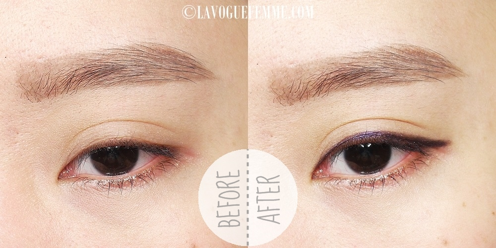 Maybelline Color Show Liner in Noble Purple Before & After