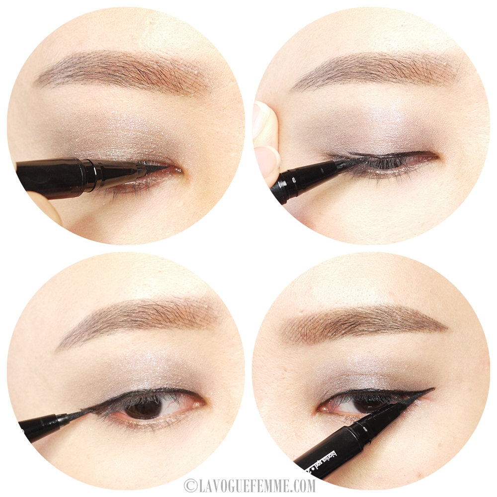 Stila Stay All Day Waterproof Liquid Eye Liner Application
